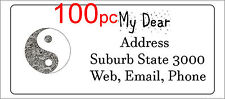 100 Personalised return address label custom mailing sticker 56x25mm yin yang