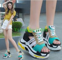 Women Fashion Sneakers Platform Wedge Sport Sandals High Heel Creepers Shoes New