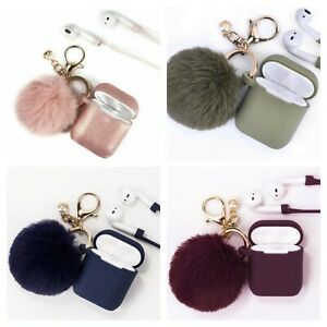 Cute Airpods Silicone Case Cover w/Fur Ball Keychain for Apple Airpods 1/2 & Pro