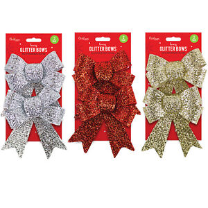 2x LARGE GLITTERED BOWS Christmas Tree Decoration Gift Wrap Glitter Bow Pack