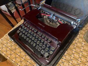 1930's WWII L. C. Smith & Corona Typewriter Flat Top Burgundy Maroon Red