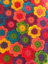 "10 CROCHET FLOWERS 2.5"" HANDMADE APPLIQUE FOR GRANNY SQUARES BLANKETS BAGS CRAFT"