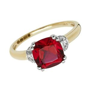 Yellow Gold Ruby Ring Solitaire Cushion White Sapphire Engagement Hallmarked