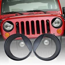 Angry Bird Style Headlight Cover-Black For 07-17 Jeep Wrangler JK Rubicon Sahara