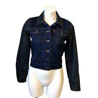 Levi's Denim Jean Jacket Small Blue Black Button Front Women's