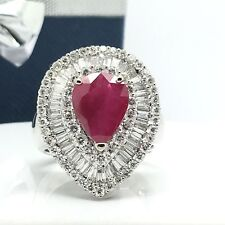 18k White Gold Natural Diamond And Ruby Pear Shape Ring