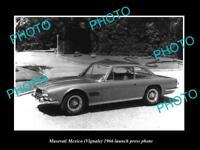 OLD LARGE HISTORIC PHOTO OF 1966 MASERATI MEXICO LAUNCH PRESS PHOTO