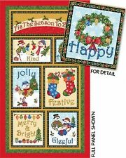 Snowman Frosty Friends Panel Cotton Quilting Fabric - Christmas