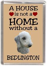 """Bedlington Terrier Dog Fridge Magnet """"A HOUSE IS NOT A HOME"""" by Starprint"""