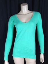 FAMOUS CATALOG 100% COTTON LIGHTWEIGHT V-NECK SWEATER TEE SHORE GREEN SZ M