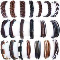 MENS REAL LEATHER BLACK BROWN SURFER BRACELET / WRISTBAND Choose Your style