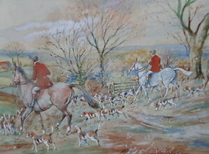 WATERCOLOUR A HUNTING WE DO GO ARTIST E W MELWORTH  FREE SHIPPING ENGLAND