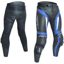 Pantalones azules de cuero de rodilla para motoristas