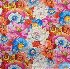 BonEful Fabric Cotton Quilt Rainbow White Pink Orange Yellow Blue Flower L SCRAP
