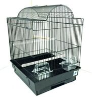 Patti Large Metal Bird Cage for Budgie/Canary Tray Perch Feeders - White, Black