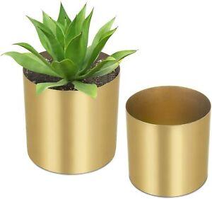 MyGift Set of 2 Decorative Cylindrical Brass-Tone Brushed Metal Planter Vases