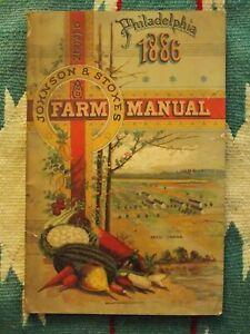 1886 JOHNSON & STOKES Philadelphia FARM MANUAL 88p. Seed Catalogue Farm Animals