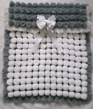 WHITE AND SILVER GREY POM POM BABY BOY GIRL BLANKET WITH REMOVABLE TRIPLE BOW