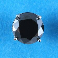 MENS 8mm ROUND SINGLE CREATED BLACK DIAMOND STUD EARRING 925 STERLING SILVER