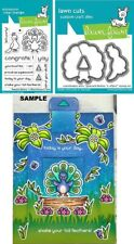 Lawn Fawn PEACOCK BEFORE 'N AFTERS Clear Stamps & Lawn Cuts Die Set