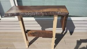 Live edge walnut entry table or key stand waterfall end accent table