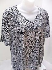 Plus Size PETER NYGARD COLLECTION Woman's Stretch Silver Script Shirt Top 1X