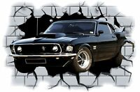 Huge 3D Mustang Muscle Crashing through wall View Wall Sticker Mural Decal 22