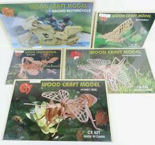 5 Wooden Models Butterfly, Racing Motorcycle, Bi-Plane, Grasshopper, Honey Bee