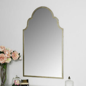 Arched silver wall mirror ornate living room hallway home decor vintage chic