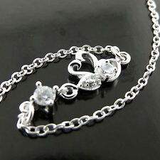 Anklet Genuine Real 925 Sterling Silver S/F Solid Diamond Simulated Swan Design
