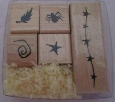 Close to my Heart CTMH Wood Stamps Halloween Dingbats S784 Spider Feahter Star
