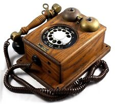 County Line Telephone Rotary Phone Wall Mount Oak and Brass Retro VTG