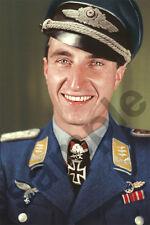 aviation art luftwaffe pilot photo postcard Walter Nowotny colour WW2 JG 54