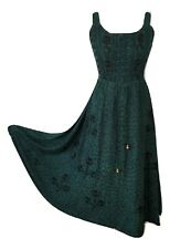 Summer Maxi Dress Empire Waist Viscose Fit Flare Forest Green One size 14 16 18