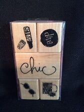 NEW Dawn Houser Inkadinkado Diva Chic Lipstick Purse Wood Mounted Stamp Set of 5