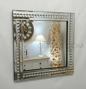 Square Art Deco Wall Mirror Acrylic Glass Crystal Frame Bevelled 60x60cm Silver