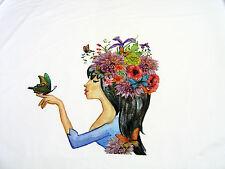 Stoffe Baumwoll Jersey Stenzo Panel Nymphe mit Schmetterling auf weiß 0,65m