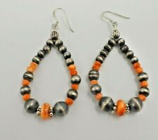Sterling Silver Navajo Pearl Orange Spiny Oyster Earrings Native American Lrg