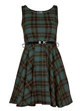 New Womens Ladies Sleeveless Belted Tartan Dress Check Print Skater Size 8-26