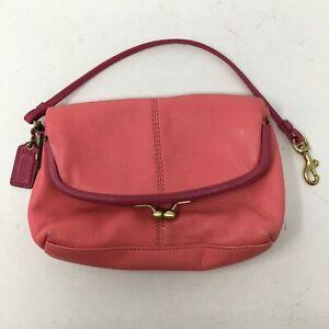 Coach Womens Mini Kiss Lock Clasp Handbag Clutch Pink Leather Removable Strap
