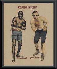 Jack Johnson vs Jim Jeffries Poster Reprint On 100 Year Old Paper *P152