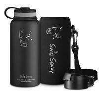 Swig Savvy 32 Oz Black Stainless Steel Insulated Water Bottle & Flip Straw Cap