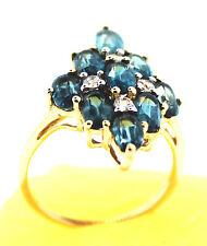 Orissa Kyanite 3.17 Cts. & White Zircon Ring Size 5, 10K Gold,