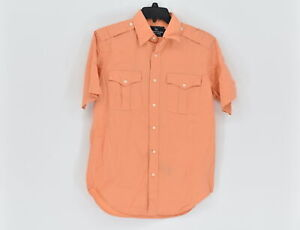 Men's American Living Short Sleeve Button up Work Shirt, Orange, Size Small