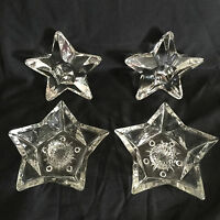 Lot Of 4 Glass Star Shape Candle Stick Holders Stick Or Votive 2 Pairs Clear