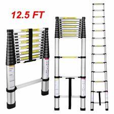 125ft Aluminum Telescopic Extension Folding Step Non Slip Ladder Heavy Duty