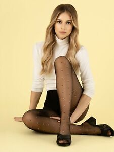 Fiore Funny Game Patterned Tights 8 Denier Contrast White Black Diamond squares