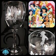 Personalised Disney Princess Engraved Wine Glass Teacher Thank You Gift Thankyou