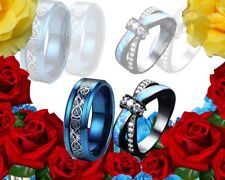 His Tungsten Dragon Blue and Her CZ Blue Opal Engagement wedding ring set