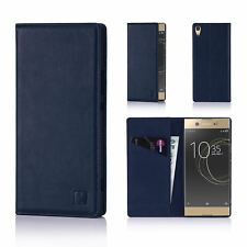 Classic Style Real Leather Book Wallet Case Cover for Sony Xperia Xa1 Ultra Sny.xa1ultra.32ndclassic-navyblue Navy Blue
